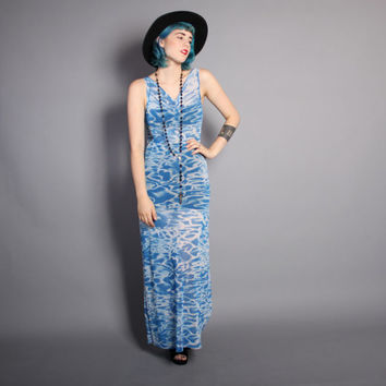 90s POOL Water Print DRESS / Novelty Semi Sheer Micro Fish Net Maxi, xs-m