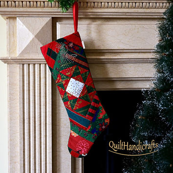 Christmas stocking Quilted Patchwork Christmas stocking in the traditional style Christmas boot Unique gift Holiday home decoration Сustom