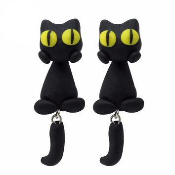 Handmade Polymer Clay Yellow Eyes Cat 3d Animal Stud Earrings