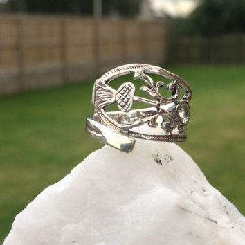 Antique Sterling Silver Scottish Thistle Spoon Ring - handmade from Antique Sterling Silverware - adjustable size