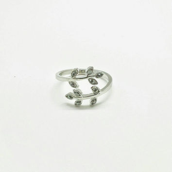 Stainless Steel Adjustable Ring with with Black Gems ( one size fit all)