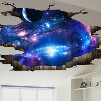 [NAI YUE]3d Cosmic Space Galaxy Children Wall Stickers for Kids Rooms Nursery Baby Bedroom Home Decoration Decals Fooor Murals