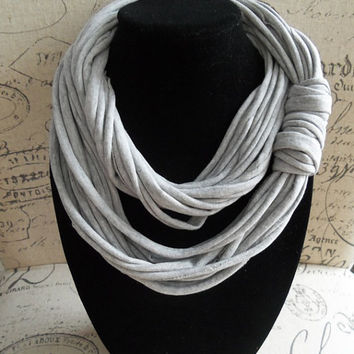 Gray Infinity Scarf.... Trendy Eternity Scarf....T-shirt Loop Scarf....Light Weight Circle Scarf