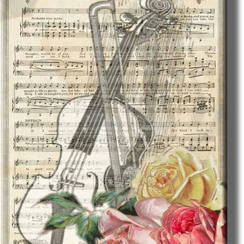 Violin and Music Notes Art, A Rose From You Picture on Acrylic , Wall Art Décor, Ready to Hang