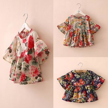 Fashion Lovely Toddler Kid Girls Blouse Floral Printed Flounced Casual Summer Ruffled Sleeve Blouses Tops BM88