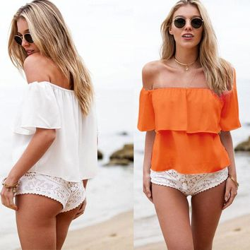 New Women Girls Off Shoulder Summer Chiffon Strapless Off Shoulders Top Casual Solid Tops T-Shirt