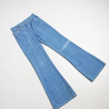 "Vintage 1970s Levi's Bell Bottoms - Orange Tab Cotton Denim High Waist Flares - 30"" x 33"""