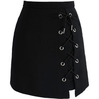 Chicwish Stylish Tie Bud Skirt in Black