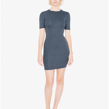 2x2 Rib Short Sleeve Crewneck Mini Dress | American Apparel