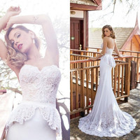 Sexy Backless Beach Bohemian Wedding Dresses Lace Applique Sweetheart Sweep Train Sheer Bridal Gowns Boho Wedding Gowns