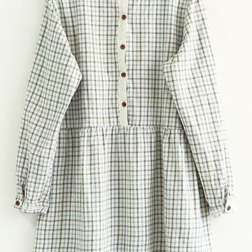 Streetstyle  Casual Blue Plaid Print Buttons Long Sleeve Dress