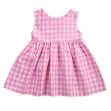 Summer 2017 Sleeveless Newborn Toddler Baby Girls Plaid Checked Dress One-pieces Pink Sunsuit Dress Outfits