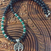 TREE OF LIFE Malachite Lava Stone Essential Oil Diffuser Necklace Midwife Doula Gift Mala