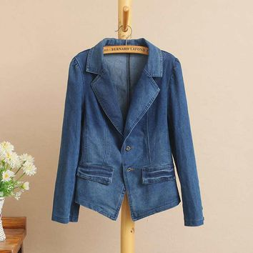 T6 Spring Casual Women Blazers 5XL Plus size Clothes Puff Sleeve Bleached tailored collar slim short denim suit jacket