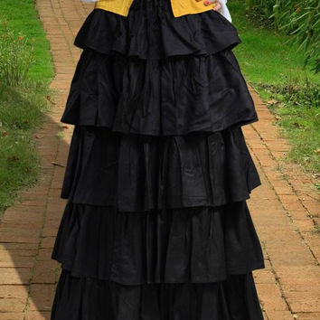 Multi Layered Medieval Long Skirt Black
