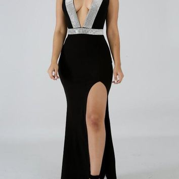 Black Patchwork Rhinestone Glitter Irregular Slit Deep V-neck Mermaid Elegant Party Maxi Dress