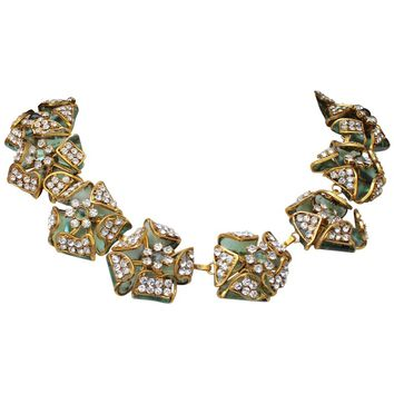 1980s - 1990s Chanel spectacular Gripoix glass paste flowers necklace