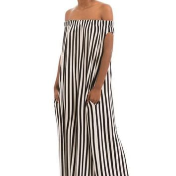 Off Shoulder Jumpsuit-BW Stripe