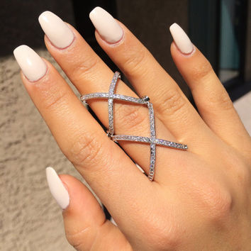 TALIANA // 18 Karat Rose Gold Double X Stacked Criss Cross Star Statement X Ring