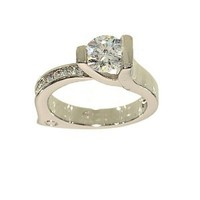 Ultra Contemporary Solitaire and Channel Set Engagement Style Fashion Ring