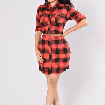 Play In The Snow Dress - Red