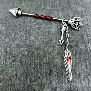 Tribal, Native American, Arrow Feather wire wrapped Industrial/Scaffold barbell 14 gauge stainless steel body jewelry