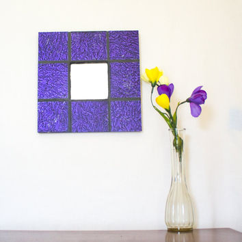 Purple Wall Mirror, Stained Glass Mosaic Mirror, Unique Wall Decor, Decorative Accents, Modern Room Accessories, Cool Home Decor
