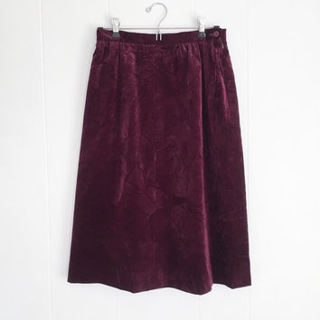 Velvet Skirt, Boho High Waisted Skirt, Vintage Velvet Skirt. Midi Skirt, Grunge Crushed Velvet Skirt. Purple Maroon Burgundy Skirt. 70s, 80s