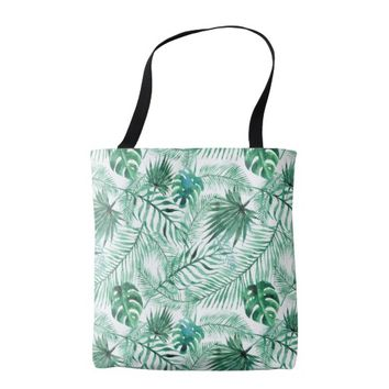Tropical Palm Tree Leaves Pattern Tote Bag