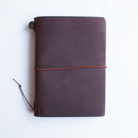 Midori Traveler's Notebook Leather Journal Brown Passport Edition