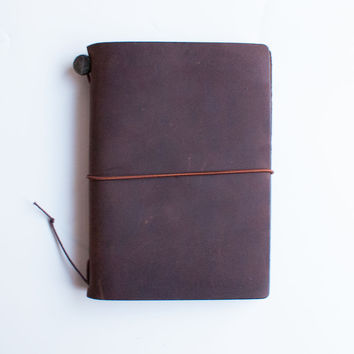 Midori Traveler's Note Leather Journal Starter Kit Passport Edition Brown