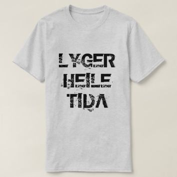 Norwegian text lyger heile tida lying all the time T-Shirt