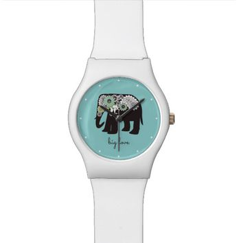 Paisley Elephant Big Love Cute Modern Turquoise Wristwatch