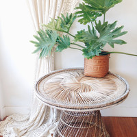LOCAL PICKUP ONLY Vintage Wicker Dining Table- plant table, outdoor table