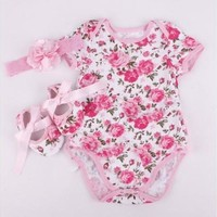 3pcs Newborn Infant Baby Girl Floral Romper Bodysuit headband Shoes Sets Clothes [8834012300]