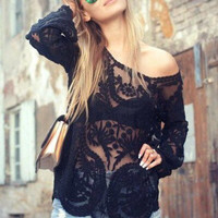 Sexy Solid color Lace Shirt Top Tee
