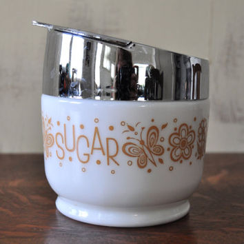 Vintage Butterfly Gold Sugar Bowl, Gemco, Pyrex Butterfly Pattern, Milk Glass, Pyrex Accompaniments