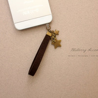 Antique Star Cluster Charm  Suede Strap Anti Dust Plug for iPhone Samsung HTC Smartphone Cell Phone Mobile Accessories