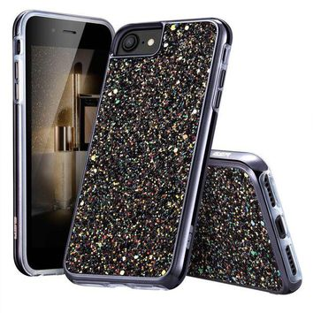 ONETOW ESR iPhone 7 Case,iPhone 6 Case, Bling Glitter Sparkle Dual Layer Shockproof Hard PC Back + Soft TPU Inner Shell Skin for 4.7' iPhone 7/6(Black)