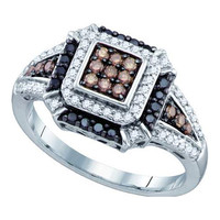 Cognac Diamond Ladies Fashion Ring in 10k White Gold 0.53 ctw