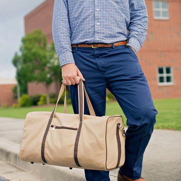 Men's Canvas Monogrammed Weekender Bag