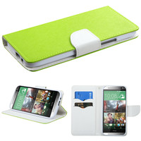 Book-Style Smart Cover Wallet Case for HTC One M8 - Green/White Liner