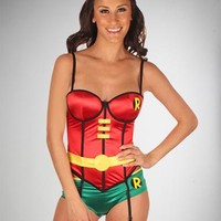 Batman Robin Corset with Boy Shorts Set