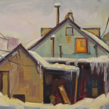 Winter House painting Oil on stretched canvas by brandycattoor