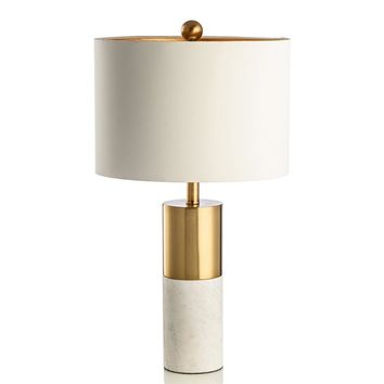 Jazz White Marble Table Lamps Copper-plated