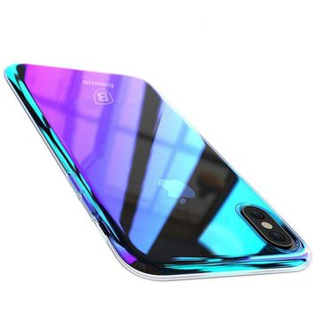 Wireless Charger iPhone X Case, Baseus Phone Case For iPhone X 10 Gradient Color Ultra Thin Slim PC Hard Back Cover Case For iPhoneX Shell (Purple)