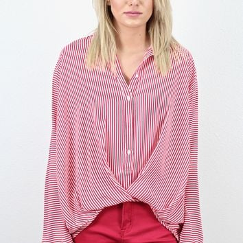 Gathered + Striped Button Down {Red}
