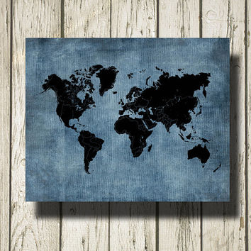 WORLD MAP Printable Instant Download Blue Burlap and Black Print Poster Home Decor Wall Art CI010