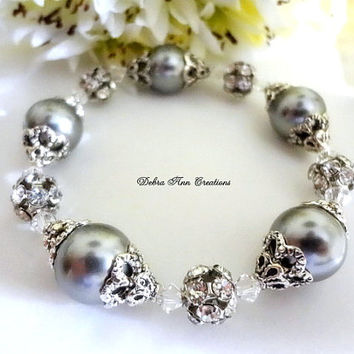 Swarovski Grey Pearl Crystal Bracelet Antique Silver Fall Grey Wedding Bridal Jewelry Bridesmaid Bracelet Vintage Style Grey Pearl Bracelet