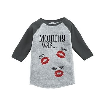 Custom Party Shop Kids Mommy Was Here Valentine's Day Grey Raglan